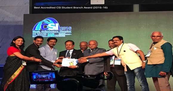 """Best Accredited CSI student Branch"" This has been awarded for the academic year of 2015-16 at CSI-2016"